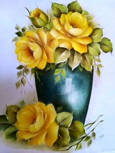Tole Painting, Fabric Painting, Watercolor Flowers, Watercolor Paintings, Decoupage Jars, Mexican Artwork, Canvas Painting Tutorials, Flower Art, Beautiful Flowers