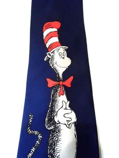 Men's Necktie Dr. Seuss Blue 100% Silk Novelty Character Cat in the Hat Tie  #DrSeuss #NeckTie