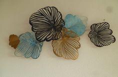 SALE!! 3D wanddecoratie Coloured Leaves Blue - Muurdecoratie Bomen - WANDDECORATIE METAAL | DEKOGIFTS