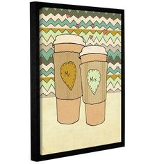 Mercury Row Blue Lattes Framed Painting Print on Gallery Wrapped Canvas Size: 08'' x 10''