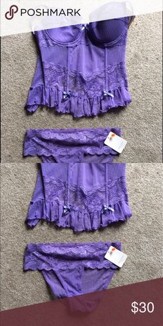 Lingerie purple set NWT super sexy Size large purple lace top and medium lace bottoms both NWT and super sexy. Rene Rofe Lingerie Intimates & Sleepwear