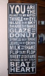 EXTRA LARGE YOU ARE THE PEANUT TO MY BUTTER, SUBWAY ART, SHABBY CHIC, DISTRESSED WOOD SIGN