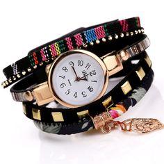 Duoya 2017 Fashion Ladies Watches Women Dress Luxury Leaf Fabric Gold Wrist Watch For Women Bracelet Vintage Sport Clock Watch Cheap Luxury Watches, Fabric Bracelets, Armani Watches, Swiss Army Watches, Seiko Watches, Vintage Watches, Fashion 2017, Ladies Fashion, Quartz Watch