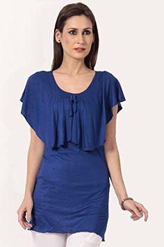 Teemoods Womens Viscose Top ,Royal Blue ,Medium