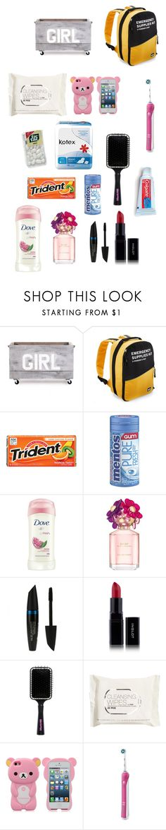 """""""Girl Emergency Kit!"""" by izzy0322 ❤ liked on Polyvore featuring Zentique, REI, Dove, Marc Jacobs, Max Factor, Inglot, H&M, Oral-B and Colgate"""