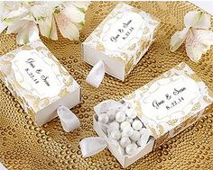 These personalized drawer-pull style gold and white damask favor boxes would make sweet #50th #anniversary favor boxes.