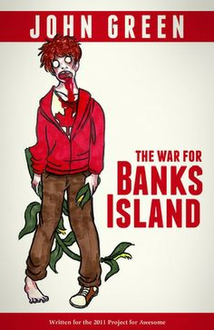 """""""The War For Banks Island (Zombicorns Series #2)"""" by John Green --- A sequel to John's 2010 #P4A story """"Zombicorns,"""" this book takes place 30 years after the zombie apocalypse and is set primarily on a remote Canadian island where Mia has escaped and lives in a large city of surviving humans. But after years of stability, the Zs encroach. ... #LibraryLoans"""
