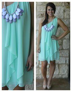 One shoulder teal dress $58