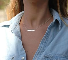 Silver Bar Necklace sterling silver name plate by xoxomashinka