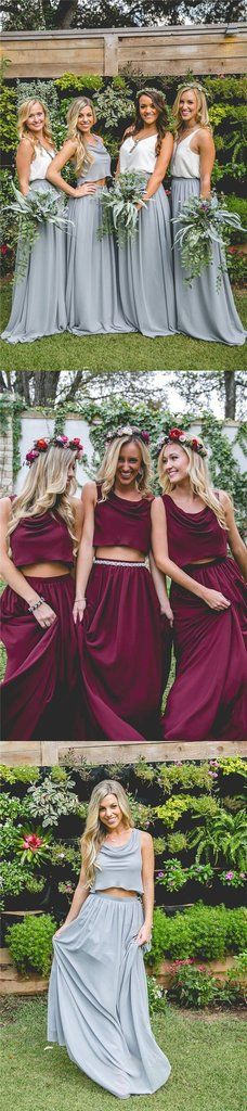 2019 Cheap New Design Popular Simple Two Pieces Bridesmaid Dresses, wedding guest dress, guest outfit two piece 2020 Cheap New Design Popular Simple Two Pieces Bridesmaid Dresses, wedding guest dress, Wedding Reception Outfit, New Wedding Dresses, Prom Dresses, Hair Wedding, Two Piece Bridesmaid Dresses, Bridesmaids, Trendy Dresses, Wedding Colors, Wedding Hairstyles