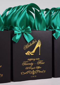 35 Gift bags with Emerald Green satin ribbon handles and bow, Elegant Black & Gold Personalized 25th Birthday Party Favors. Twenty Fine