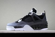 Latest Air Jordan 4 Retro Fear Black White-Cool Grey-Pure Platinum For Sale - ishoesdesign Jordan 4, Jordan Swag, Jordan Shoes For Men, Air Jordan Sneakers, White Shoes Men, Black And White Shoes, Nike Air Max, Nike Air Shoes, Kd Shoes