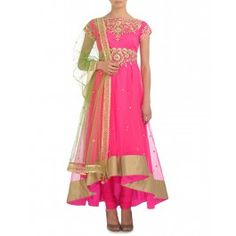 Hot Pink Suit with Gota Embellished Empirical Line