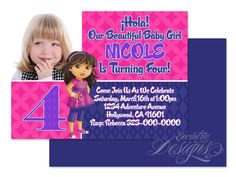 Dora The Explorer - Digital Birthday Party Invitation / Child Party Ideas / Children Party Themes / Children Invites / Children Invitations / Kid Party Ideas / Kid Invitations