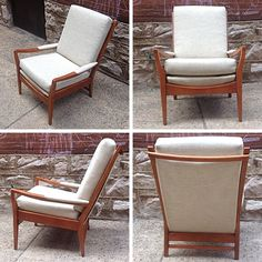 Newly refinished vintage lounge chair by Cintique of England. Removable cushions with new upholstery. & Mid Century Modern Pair of Cintique Walnut Chairs English Larsen ... islam-shia.org
