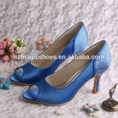 Argent strass talons hauts chaussures bleu de mariage 9 CM-en Chaussures de ville pour dames depuis Chaussures pour dames sur m.french.alibaba.com.