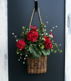 Basket Of Red Geraniums by MelanieLeeDesign on Etsy