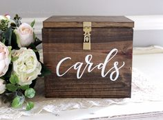 8.5x7x7 Our beautiful, hand crafted wedding card box is made of quality Brazilian wood and embellished with beautiful hand painted calligraphy. This card box is perfect