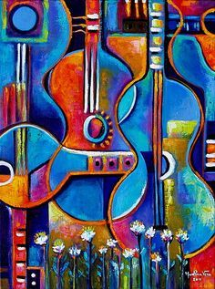 Abstract Original Impasto Acrylic Painting Guitars And Flowers Marlina Vera…