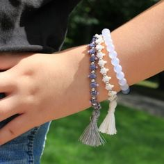 This is a really fun, easy way to add tassels to your bracelets. You can buy the tassels or make them yourself! I made a bunch of them!