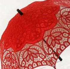 Red All Battenburg Lace Parasol Battenberg Sun Umbrella Black Handle Victorian   eBay