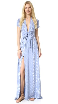 Tularosa Joel Plunge Dress - Chambray. An airy, lightweight TULAROSA maxi dress in an eclectic print. #ad Pleats border the deep V neckline, and a high slit relaxes the skirt. Short sleeves