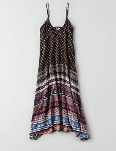 AEO Printed V-Neck Maxi Dress, Navy | American Eagle Outfitters