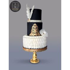 Gatsby / Art Deco Birthday Cake wafer paper flower and feathers