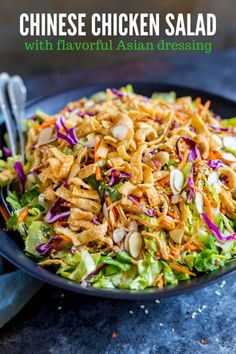 Chinese Chicken Salad Healthy Chinese chicken salad is a joy to make! Prep it in advance for a DIY salad kit! The flavorful homemade Asian dressing takes this restaurant recipe to the next level! Asian Chicken Salads, Chicken Salad Recipes, Salad Chicken, Healthy Chicken, Recipes With Canned Chicken, Chinese Chicken Salad Dressing, Asian Salads, Restaurant Recipes, Dinner Recipes