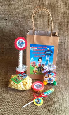 Paw Patrol Party Favors and Bags - 10 Personalized Goodie Bags - Birthday Party - PlayDoh Popcorn Lollipop Marshmallow Twist Bubble Gum - MyPartyElements Birthday Party Goodie Bags, Party Favor Bags, Birthday Party Favors, Birthday Ideas, Paw Patrol Party Favors, Paw Patrol Birthday Theme, Third Birthday, 3rd Birthday Parties, Cumple Paw Patrol