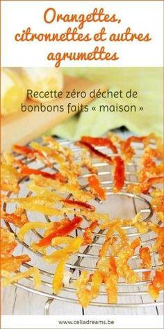 Ecorces d'orange confites: recette facile et rapide qui vous permettra de recycler vos épluchures d'oranges et de citrons pour en faire de délicieuses friandises « maison ».  Orangettes, citronnettes... une recette zéro déchet à base de peau d'agrume pour de délicieux bonbons. #orangette #orange #recettezerodechet Orange Confit, Biscuits, Cereal, Vegetables, Fruit, Breakfast, Desserts, Permaculture, Comme