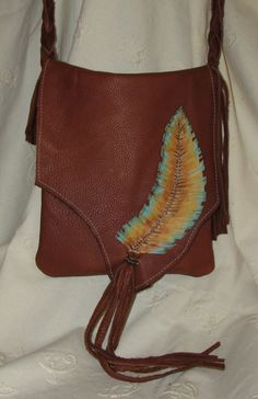 Bohemian Leather Satchel with a Handpainted by ResplendentLeather