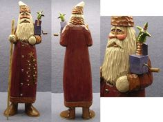 Carved Santa by Woodbuster Carving Wood, Art Carved, Father Christmas, Woodcarving, Snowmen, Folk Art, Hobbies, Santa, Clay