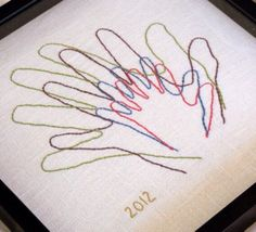 Family Hands. Family Sign. Hand Embroidered by EightOhEight, $65.00