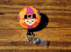 Witch Badge, Halloween Badge, Hoilday Badge, Retractable Badge,Swivel Clip,RN Badge, CnA Badge, Coach Badge, Teacher Badge, Fabric Badge by TheNerdyFatCat on Etsy