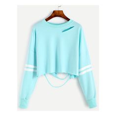 Sleeve Striped Drop Shoulder Cut Out Crop Sweatshirt ❤ liked on Polyvore featuring tops, hoodies, sweatshirts, drop shoulder sweatshirt, cut out sweatshirt, cut-out crop tops, stripe top and cropped sweatshirt