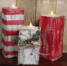 of the Best DIY Christmas Decorations Rustic Wood Christmas Candles.these are the BEST Homemade Holiday Decorations & Craft Ideas! Noel Christmas, Christmas Candles, Christmas Projects, Holiday Crafts, Christmas Ideas, Wooden Christmas Crafts, Country Christmas Decorations, Christmas Cactus, Christmas Candle Holders