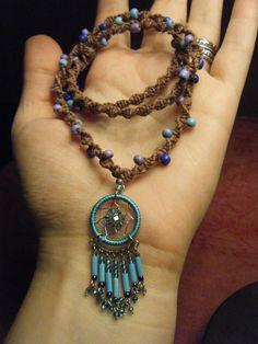 Blue Dream Catcher Necklace - Beaded Hemp Necklace - Handmade, Ready to Ship Hemp Necklace, Hemp Jewelry, Jewelry Knots, Jewelry Crafts, Beaded Jewelry, Beaded Necklaces, Blue Dream Catcher, Dream Catcher Necklace, Dream Catchers