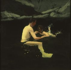 Melanie and Me Swimming, 1978–1979, Michael Andrews, English, 1928–1995 - Los…