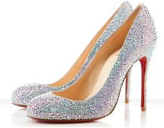 I don't know why I've always wanted sparkly shoes.probably some disney deal. But why not have Christian Louboutin sparkly shoes:) Stilettos, High Heels, Wedding Shoes Bride, Bridal Shoes, Wedding Dress, Glitter Wedding, Ivory Wedding, Manolo Blahnik, Zapatos Shoes