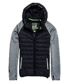2afad7819d3d8 Shop Superdry Mens Gym Tech Hybrid Zip Hooded Jacket in Monoblack  Grit black. Buy now with free delivery from the Official Superdry Store.