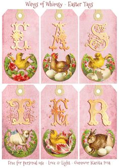 Vintage Easter Letter Tags - free for personal use