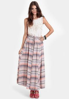 Nebraska Summers Printed Maxi Skirt at #threadsence @ThreadSence