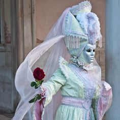 Mask with a rose, Venice Carnival 2011, Venice, Veneto, Italy