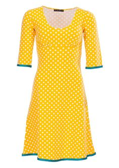 Flot prikket gul Mania Copenhagen kjole STELLA /yellow dot dress