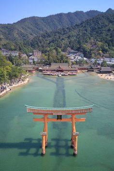 Looking over the Itukushima Shrine Grand Torii at Miyajima Hiroshima Prefecture Japan. Hiroshima, Places Around The World, Around The Worlds, Beautiful World, Beautiful Places, Places To Travel, Places To Go, Japanese Shrine, Art Occidental