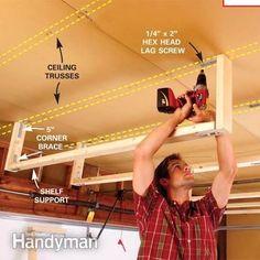 How to build storage above garage door. Lots of really good ideas for overhead garage storage. Easy Garage Storage, Garage Ceiling Storage, Garage Storage Solutions, Lumber Storage, Garage Shelving, Garage Organization, Diy Storage, Storage Ideas, Workshop Organization