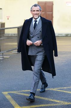 Mid Grey Flannel #suit with black double monk shoes & navy overcoat