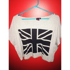 grey and black British flag off the shoulder off the shoulder grey shirt with black British flag design Material Girl Tops Tees - Short Sleeve