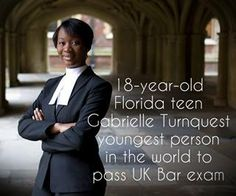 18 year old Florida teen Gabrielle Turnquest youngest person in the world to pass UK Bar exam. Black History Facts, Black Pride, Black Girls Rock, African American History, Native American, Before Us, Women In History, Black Is Beautiful, Beautiful People